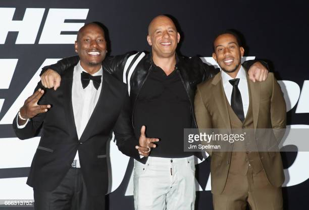 Actors Tyrese Gibson Vin Diesel and Ludacris attend The Fate Of The Furious New York premiere at Radio City Music Hall on April 8 2017 in New York...
