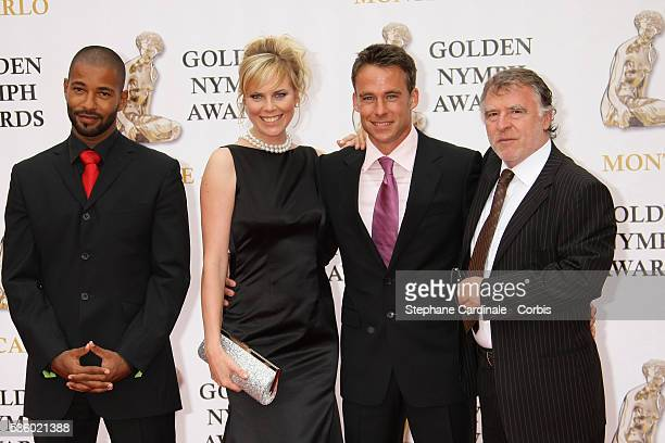 Actors Tyron Ricketts Melanie Marschke Marco Girnth and Andreas SchmidtSchaller arrive at the closing ceremony of the 47th annual Monte Carlo...