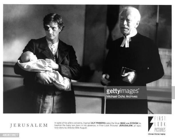 Actors Ulf Friberg and Max von Sydow in a scene from the movie Jerusalem circa 1996