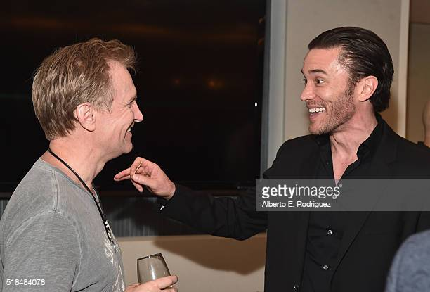 Actors Ulrich Thomsen and Tom Pelphrey attend the after party for the premiere of Cinemax's 'Banshee' 4th Season at UTA on March 31 2016 in Beverly...