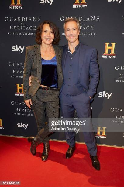 Actors Ulrike Folkerts and Hannes Jaenicke attend the preview screening of the new documentary 'Guardians of Heritage Hueter der Geschichte' by...