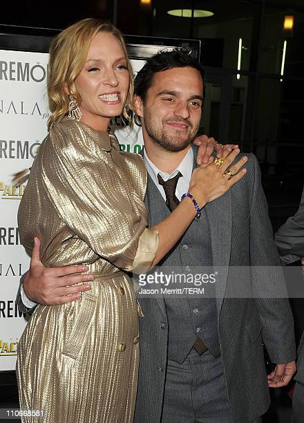 Actors Uma Thurman and Jake M Johnson arrive at the 'Ceremony' Los Angeles premiere at ArcLight Cinemas on March 22 2011 in Hollywood California