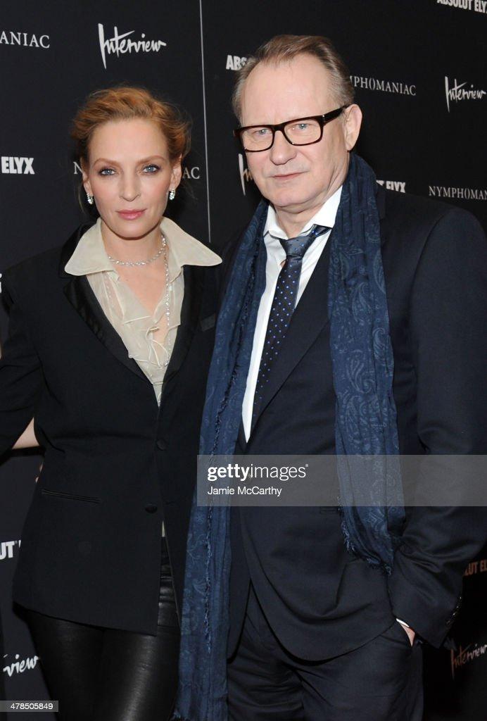 Actors Uma Thurman (L) and Stellan Skarsgard attend the 'Nymphomaniac: Volume I' New York screening at Museum of Modern Art on March 13, 2014 in New York City.