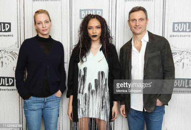 """Actors Uma Thurman, Sivan Alyra Rose and Tony Goldwyn visit Build Studio to discuss their new Netflix television series """"Chambers"""", on April 18, 2019..."""