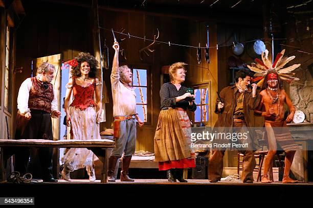 Actors Urbain Cancelier, Stefi Celma, Francois Berleand, Anne Benoit, Valentin de Carbonnieres and Lionel Abelanski acknowledge the applause of the...