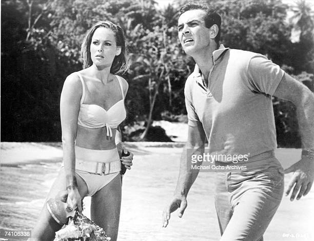 Actors Ursula Andress and Sean Connery in a scene from 'Dr No' directed by Terence Young