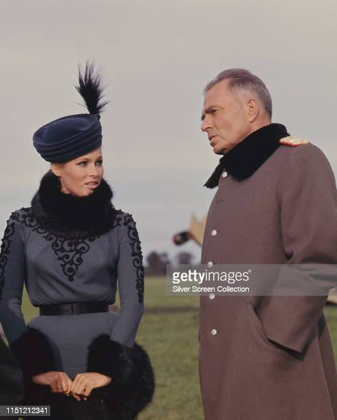Actors Ursula Andress as Countess Kaeti von Klugermann and James Mason as General Count von Klugermann in the war film 'The Blue Max' 1966