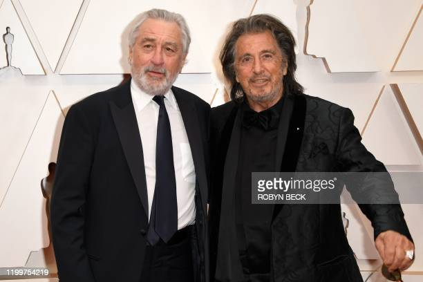 US actors US actor Robert De Niro and Al Pacino arrive for the 92nd Oscars at the Dolby Theatre in Hollywood California on February 9 2020