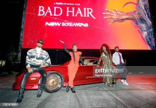 Actors Usher, Elle Lorraine, Kelly Rowland, and Blair Underwood attend the screening of their film BAD HAIR during Huluween Drive-In 2020 at Rose...