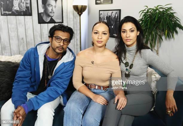 Actors Utkarsh Ambudkar Jasmine Cephas Jones and Janina Gavankar from 'Blindspotting' attend The Hollywood Reporter 2018 Sundance Studio at Sky...
