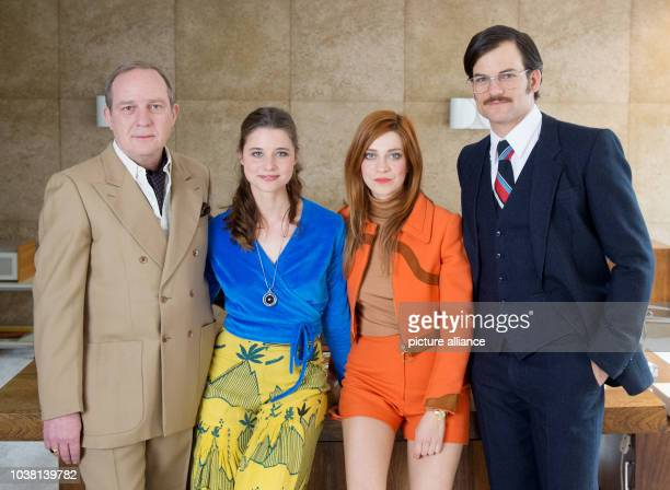 Actors Uwe Preuss Svenja Jung Claudia Eisinger and Torben Liebrecht pose during a photocall at the set of the sixpart television series 'Zarah' by...