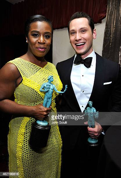Actors Uzo Aduba and Matt McGorry accept awards for 'Orange Is the New Black' at TNT's 21st Annual Screen Actors Guild Awards at The Shrine...