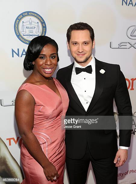 Actors Uzo Aduba and Matt McGorry attend the 46th NAACP Image Awards presented by TV One at Pasadena Civic Auditorium on February 6 2015 in Pasadena...