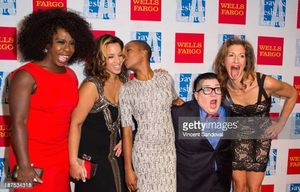 Actors Uzo Aduba Dascha Polanco Samira Wiley Lea DeLaria and Alysia Reiner attend the LA Gay Lesbian Center's 42nd anniversary Vanguard Awards Gala...
