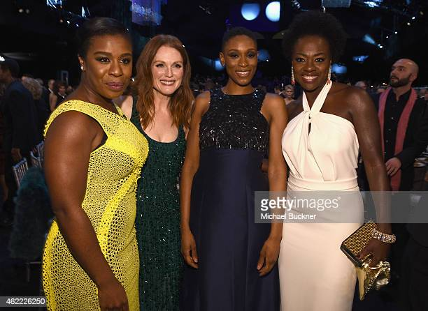 Actors Uzo Aduba, Julianne Moore, Samira Wiley and Viola Davis attend TNT's 21st Annual Screen Actors Guild Awards cocktail reception at The Shrine...