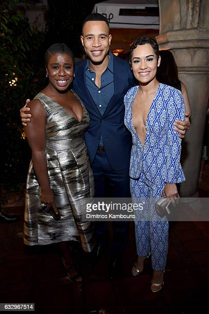 Actors Uzo Aduba Trai Byers and Grace Gealey attend the Entertainment Weekly Celebration of SAG Award Nominees sponsored by Maybelline New York at...