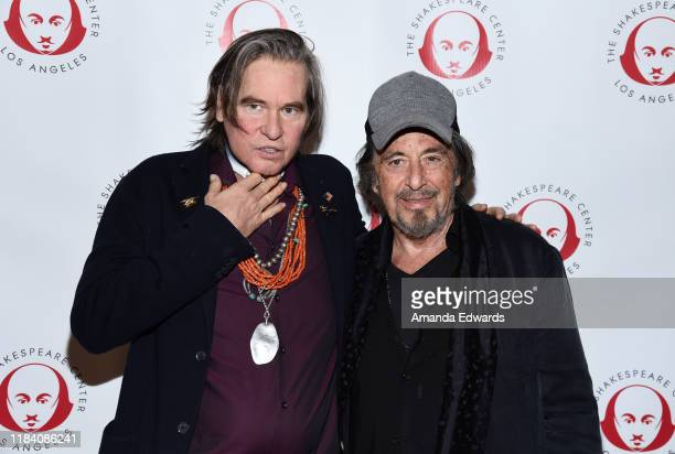 """Actors Val Kilmer and Al Pacino attend the Simply Shakespeare's Live Read of """"The Merchant Of Venice"""" at Walt Disney Concert Hall on October 28, 2019..."""