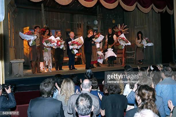 "Actors Valentin de Carbonnieres, Stefi Celma, Urbain Cancelier, Stage Director of the Piece, Bernard Murat, Member of ""Academie francaise"" and autor..."