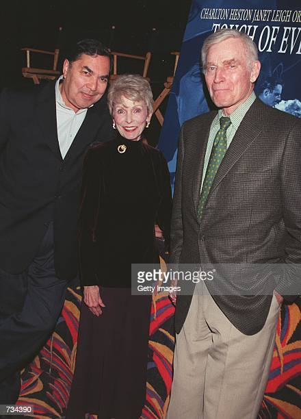 Actors Valentin de Vargas Janet Leigh and Charlton Heston attend the screening of the restored version of Orson Welles'' classic film Touch Of Evil...