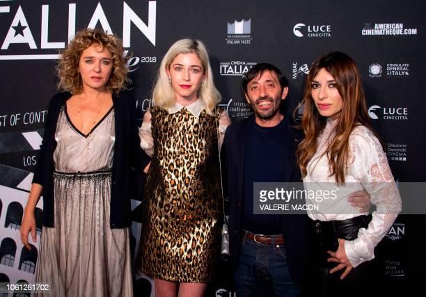 Actors Valeria Golino Annabelle Attanasio Marcello Fonte and Actress Sabrina Impacciatore arrive at the AFI FEST 2018 Presented By Audi Cinema...