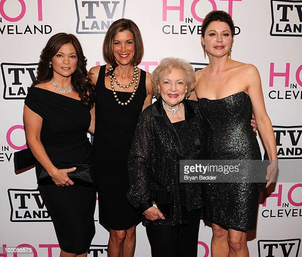 Actors Valerie Bertinelli Wendie Malick Betty White and Jane Leeves attend the 'Hot in Cleveland' premiere at the Crosby Street Hotel on June 14 2010...