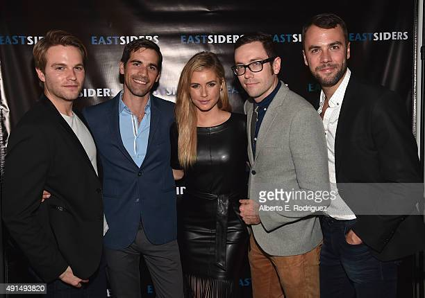 Actors Van Hansis Matthew McKelligon Brianna Brown writer/director Matthew McKelligon and actor John Halbach attend the premiere of Go Team...
