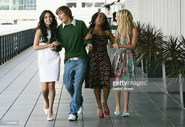"""Actors Vanessa Anne Hudgens, Zac Efron, Monique Coleman and Ashley Tisdale attend a photo call for """"High School Musical"""" at the Quay Restaurant on..."""