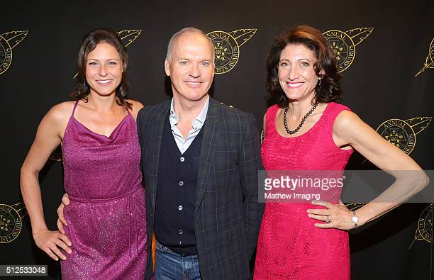 Actors Vanessa Cloke, Michael Keaton, and Amy Aquino pose backstage at the 53rd Annual ICG Publicists Awards at The Beverly Hilton Hotel on February...