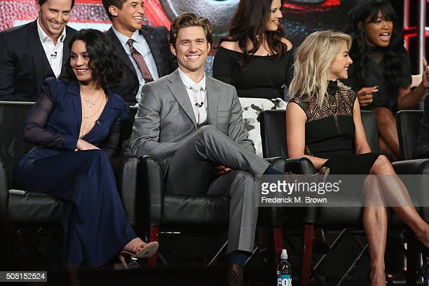 Actors Vanessa Hudgens Aaron Tveit and Julianne Hough speak onstage during the Grease Live panel discussion at the FOX portion of the 2015 Winter TCA...