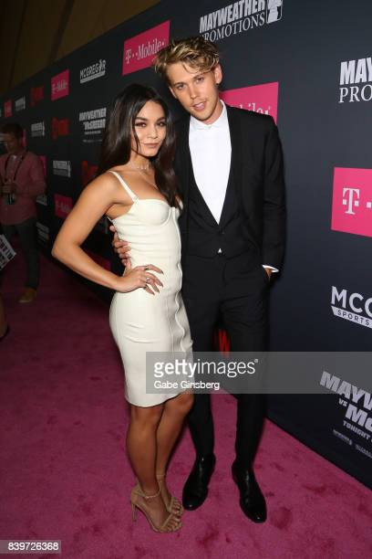 Actors Vanessa Hudgens and Austin Butler arrive on TMobile's magenta carpet duirng the Showtime WME IME and Mayweather Promotions VIP PreFight Party...