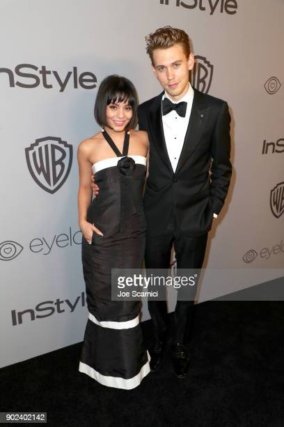 Actors Vanessa Hudgens and Austin Butler attend the 2018 InStyle and Warner Bros 75th Annual Golden Globe Awards PostParty at The Beverly Hilton...