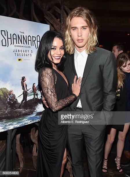 Actors Vanessa Hudgens and Austin Butler attend the after party for the premiere of MTV and Sonar Entertainment's 'The Shannara Chronicles' at Tanzy...