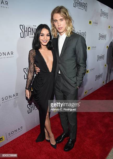 Actors Vanessa Hudgens and Austin Butler attends the premiere of MTV and Sonar Entertainment's 'The Shannara Chronicles' at iPic Theaters on December...