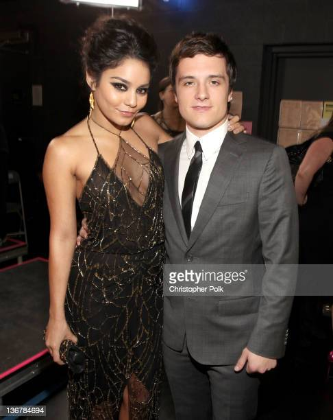 Actors Vanessa Hudgens and Josh Hutcherson backstage at the 2012 People's Choice Awards at Nokia Theatre LA Live on January 11 2012 in Los Angeles...