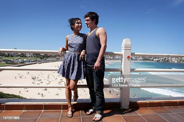 Actors Vanessa Hudgens and Josh Hutcherson pose during the 'Journey 2 The Mysterious Island' photo call at Bondi Beach on January 18 2012 in Sydney...