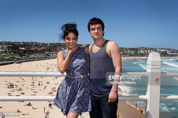 Actors Vanessa Hudgens and Josh Hutcherson pose during the Journey 2 The Mysterious Island photo call at Bondi Beach on January 18 2012 in Sydney...