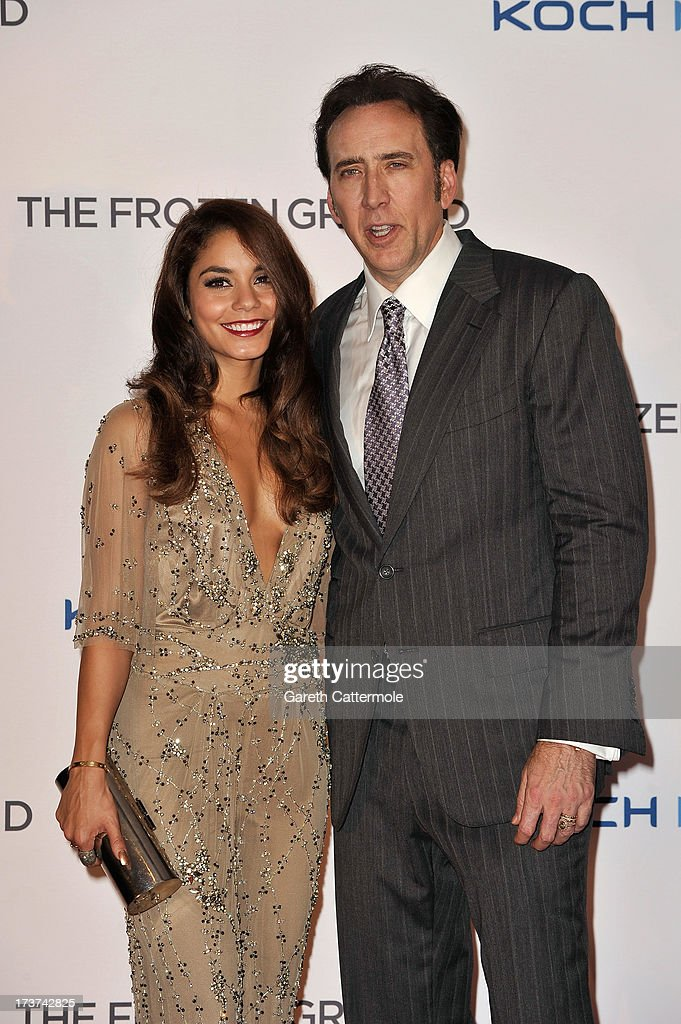 Actors Vanessa Hudgens and Nicolas Cage attend the UK Premiere of 'The Frozen Ground' at Vue West End on July 17, 2013 in London, England.