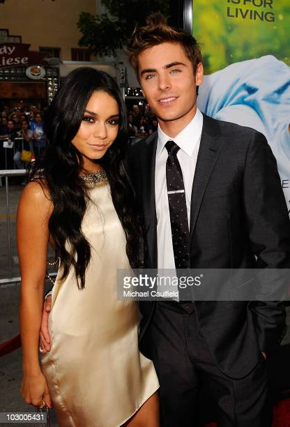 Actors Vanessa Hudgens and Zac Efron arrive at the premiere of Universal Pictures' Charlie St Cloud held at the Regency Village Theatre on July 20...