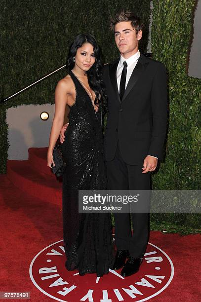 Actors Vanessa Hudgens and Zac Efron arrives at the 2010 Vanity Fair Oscar Party hosted by Graydon Carter held at Sunset Tower on March 7 2010 in...