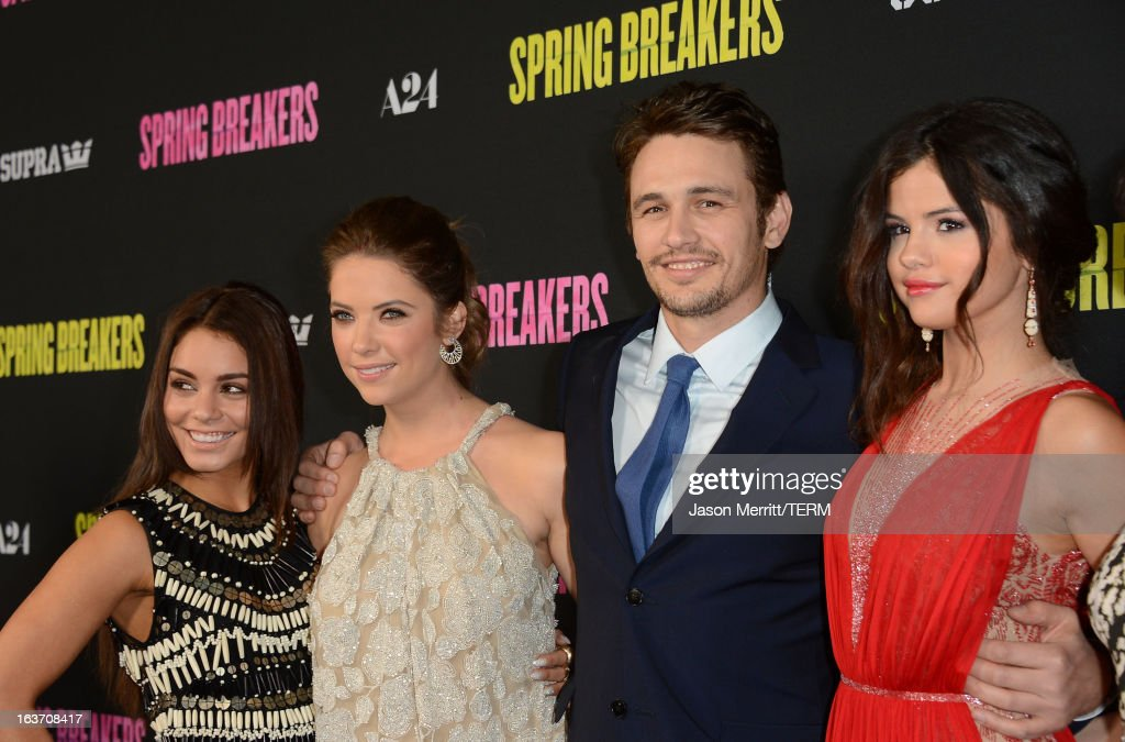 Actors Vanessa Hudgens, Ashley Benson, James Franco and Selena Gomez attend the 'Spring Breakers' premiere at ArcLight Cinemas on March 14, 2013 in Hollywood, California.