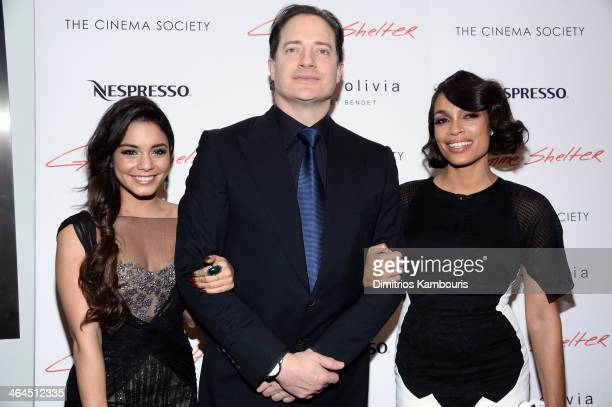 Actors Vanessa Hudgens Brendan Fraser and Rosario Dawson attend the 'Gimme Shelter' screening hosted by Roadside Attractions and Day 28 Films with...
