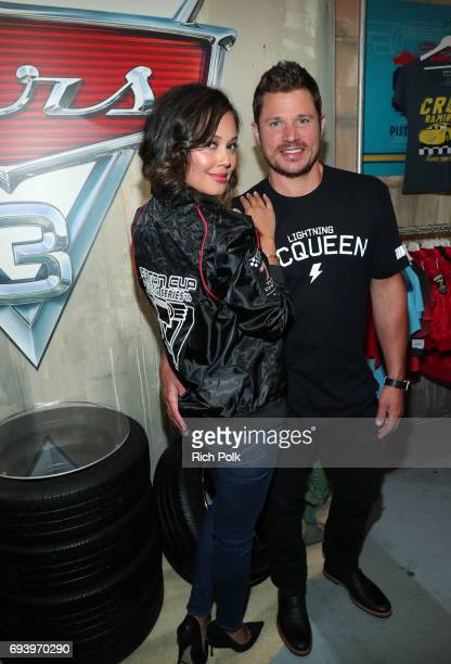 Actors Vanessa Lachey and Nick Lachey attend Disney Pixar's Cars 3 event at Sportie LA on June 8 2017 in Los Angeles California