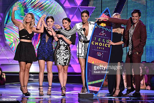 Actors Vanessa Ray Lucy Hale Janel Parrish Shay Mitchell Ashley Benson and Ian Harding accept the Choice TV Drama Show for 'Pretty Little Liars'...