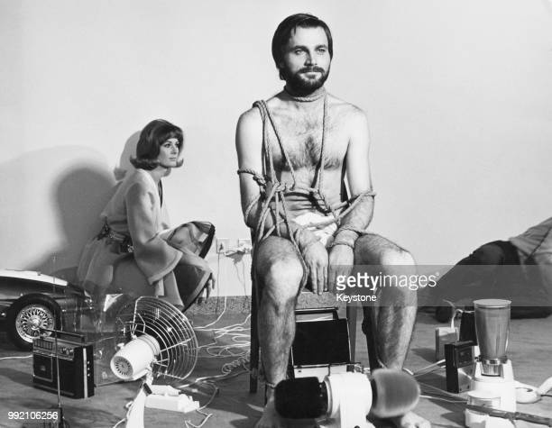 Actors Vanessa Redgrave and her offscreen partner Franco Nero playing sex games in a scene from the film 'A Quiet Place in the Country' Rome Italy...