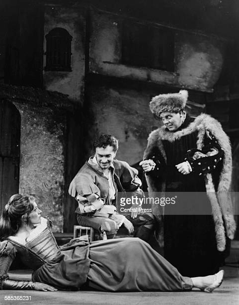 Actors Vanessa Redgrave Derek Godfrey and Patrick Wymark rehearsing a scene from the play 'The Shrew' at the Aldwych Theatre London September 13th...