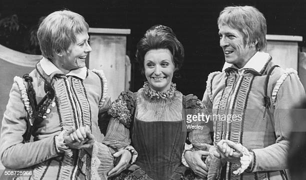 Actors Vanessa Redgrave Nyree Dawn Porter and Norman Eshley in costume during rehearsals for the Shakespeare play 'Twelfth Night' at the Shaw Theatre...