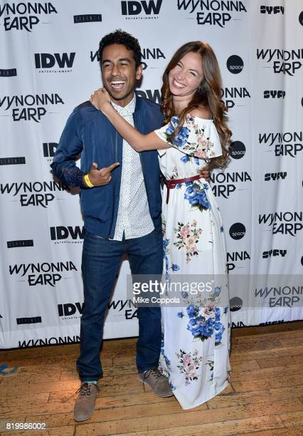 Actors Varun Saranga and Dominique ProvostChalkley at the Wynonna Earp Media Mixer with cast and Fan Appreciation Party during ComicCon International...