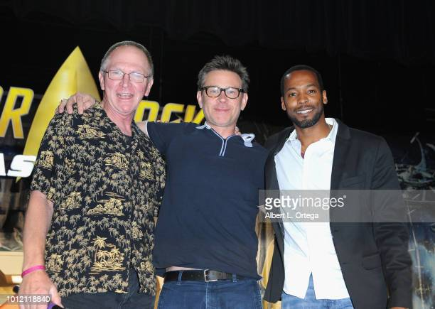 Actors Vaughn Armstrong Connor Trinneer and Anthony Montgomery attend Day 4 of Creation Entertainment's 2018 Star Trek Convention Las Vegas at the...