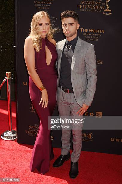 Actors Veronica Dunne Max Ehrich attends the 2016 Daytime Emmy Awards Arrivals at Westin Bonaventure Hotel on May 1 2016 in Los Angeles California