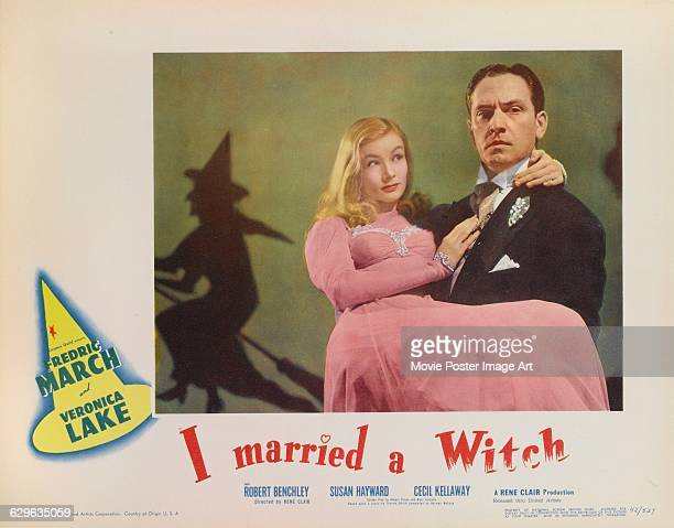 Actors Veronica Lake and Fredric March appear on the poster for the 1942 comedy film 'I Married a Witch' directed by René Clair and released through...